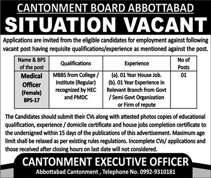 Cantonment Board Abbottabad Offering Jobs 2019