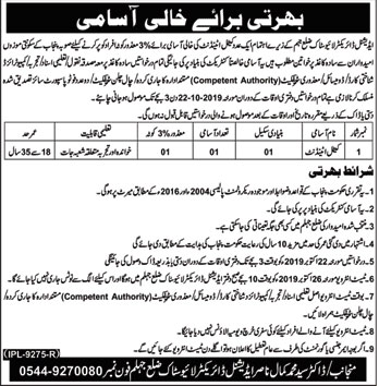 Cattle Attendant  Job In  Livestock Department  Jhelum