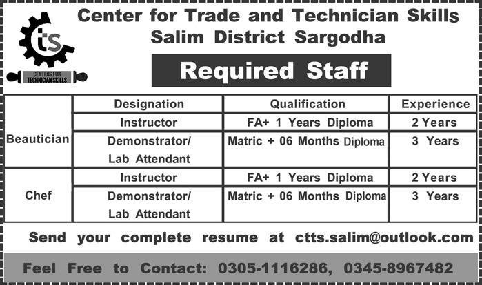 Center for Trade and Test Technician Skills Required Staff 2019