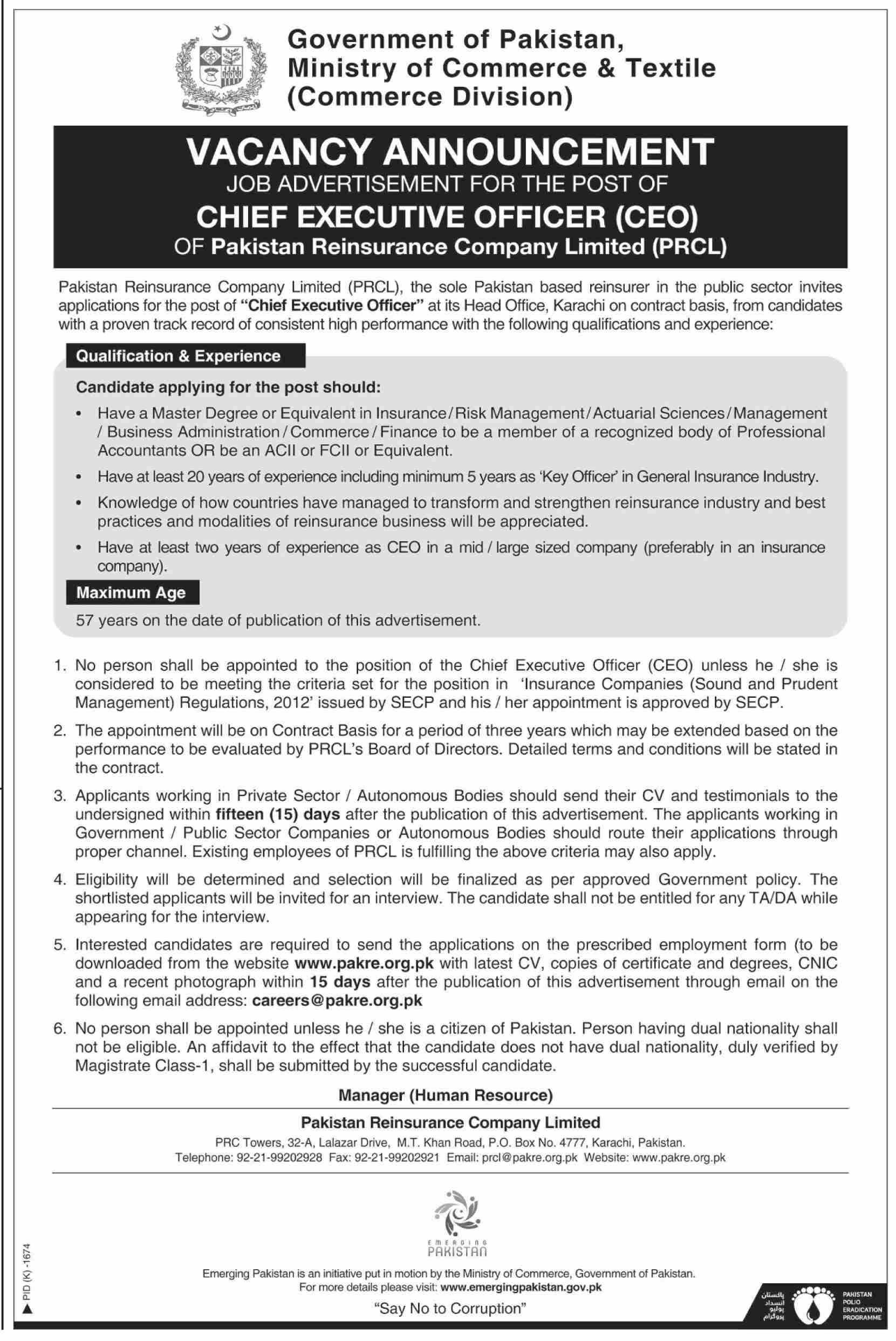 Chief Executive Officer Job In Ministry Of Commerce & Textile Karachi