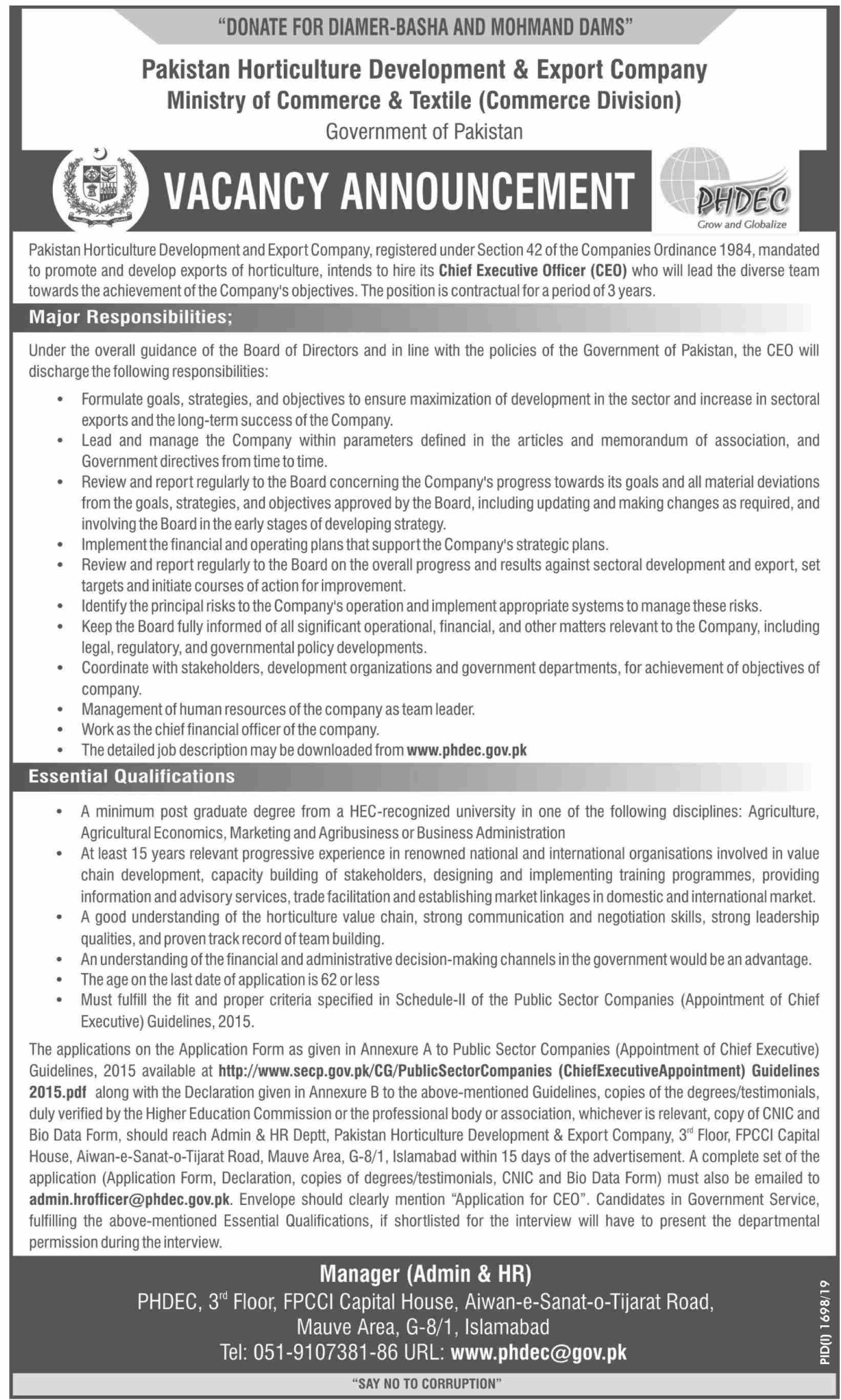 Chief Executive Officer Job In Pakistan Horticulture Development & Export Company Islamabad