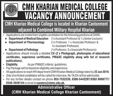 CMH Kharian Medical College Offering Jobs 2019