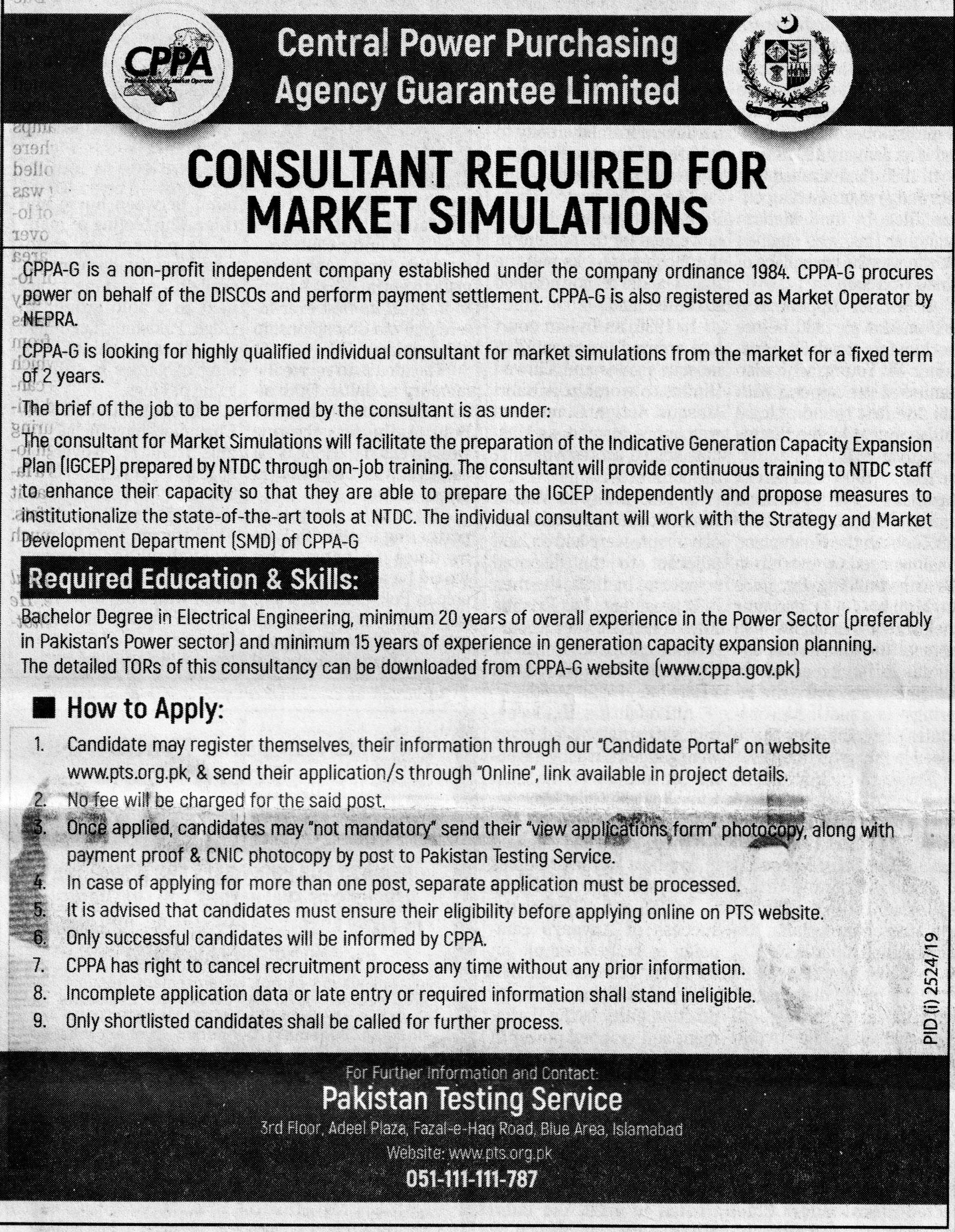 Consultant Job In Central Power Purchasing Agency Guarantee Limited  Islamabad