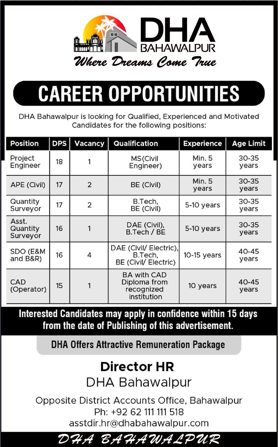 DHA Bahawalpur Offering Jobs 2019