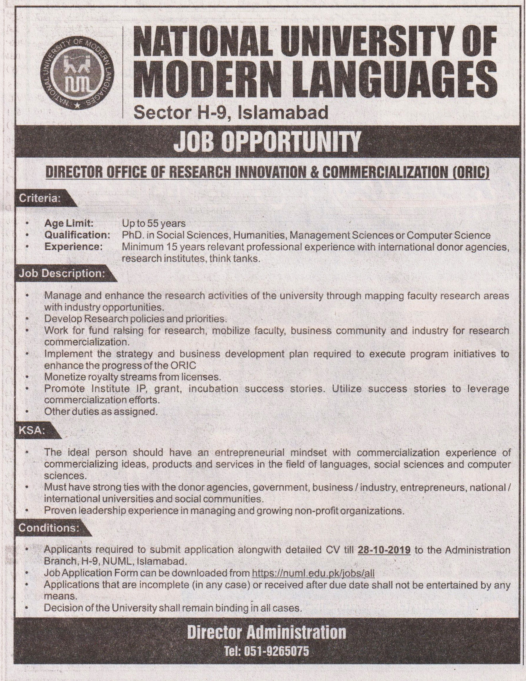 Director Job In  National University Of Modern Languages  Islamabad