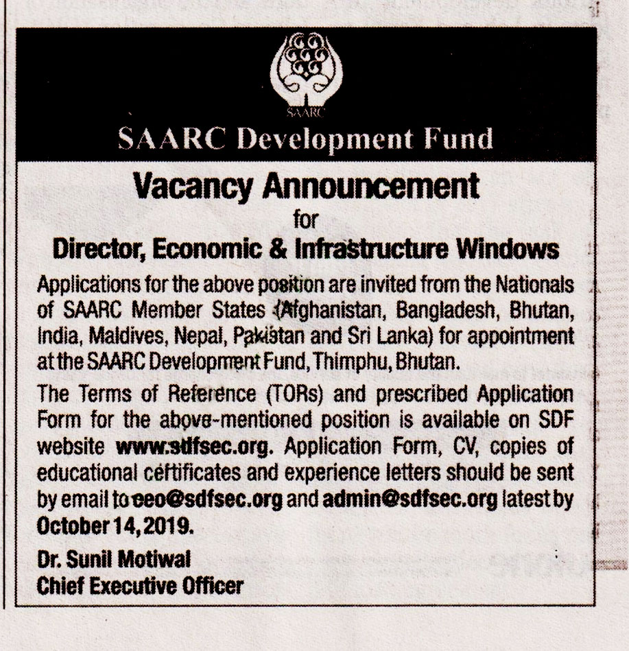 Director JobIn  Saarc Development Fund  Islamabad 2019