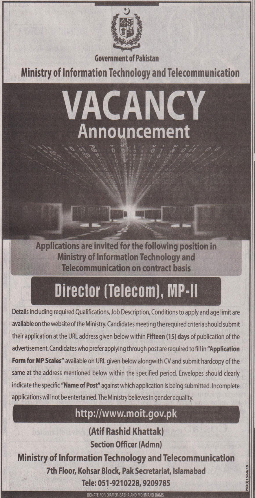 Director Jobs In  Ministry Of Information Technology & Telecommunication Islamabad