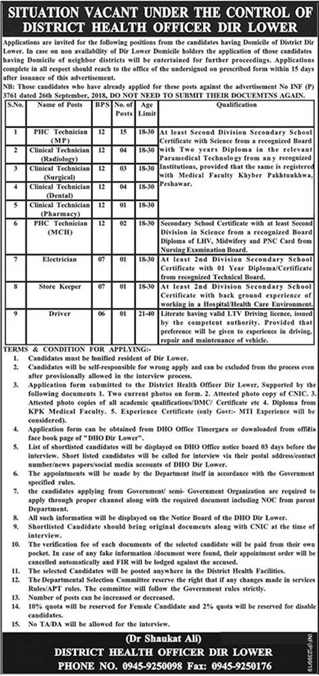 District Health Officer DIR Offers Jobs 2019