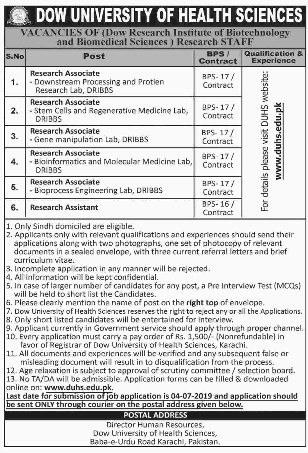 Dow University Of Health Sciences Offering Jobs 2019
