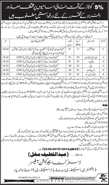 Elementary and Secondary Education Department Offers Jobs 2019