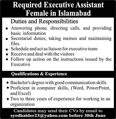 Executive Assistant Female Required in Islamabad 2019