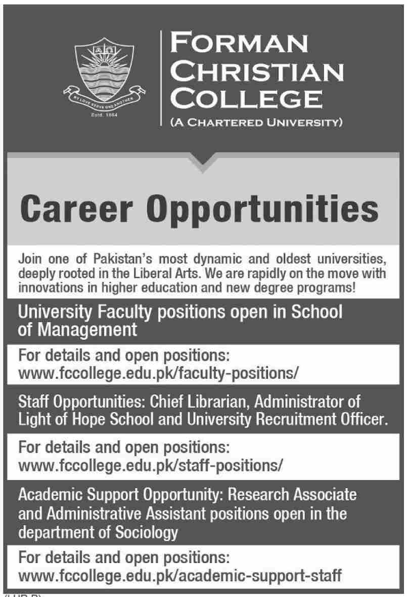 Faculty Staff jobs in Lahore