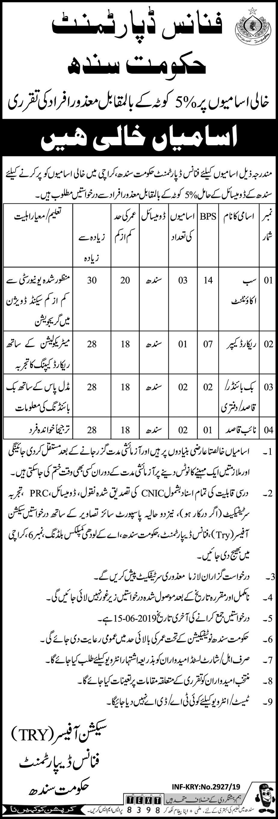 Finance Department Sindh Offers Jobs 2019