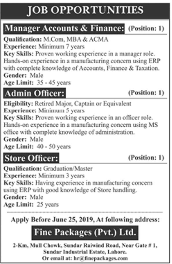 Fine Packages Private Ltd Offering Jobs 2019