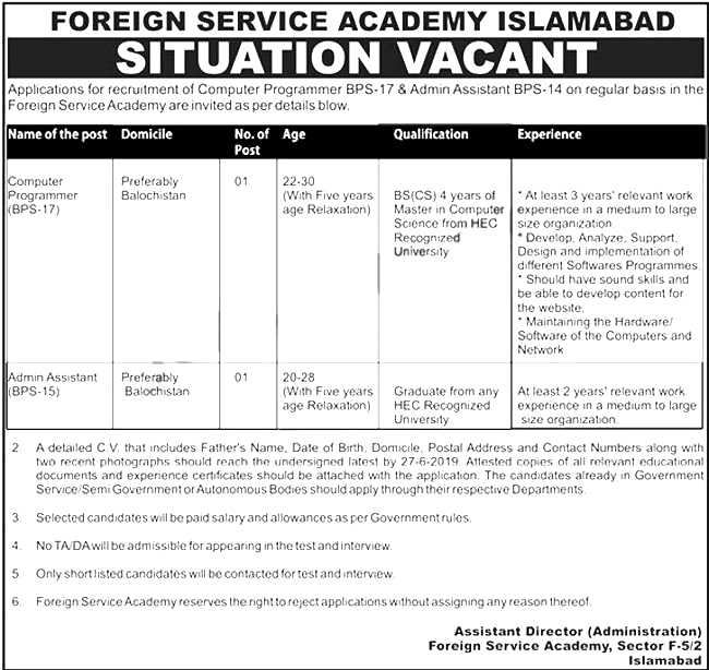 Foreign Service Academy Islamabad Offers Jobs 2019