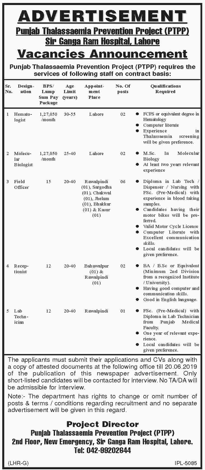 Ganga Ram Hospital Lahore Offering Jobs 2019