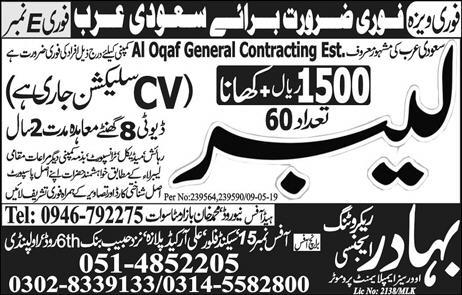 Get a Latest International Jobs In Bahadur Agency 2019