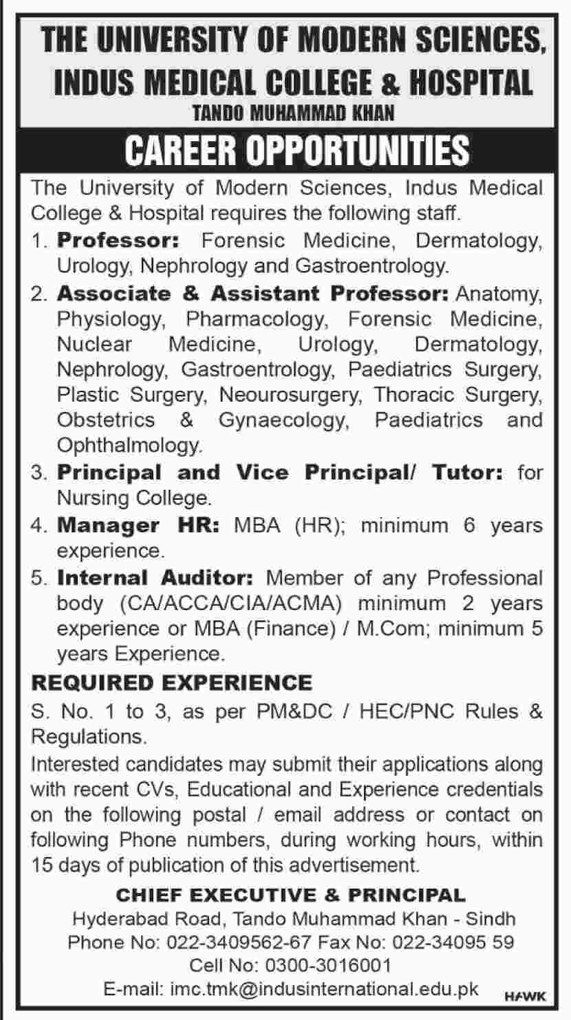 Get a Latest Job in Indus Hospital and College 2019