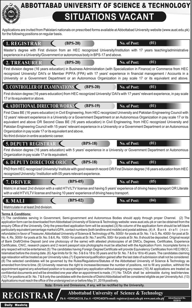 Get a Latest Jobs Abbottabad University of Science and Technology 2019