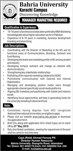 Get a Latest Jobs In Bahria University Karachi 2019