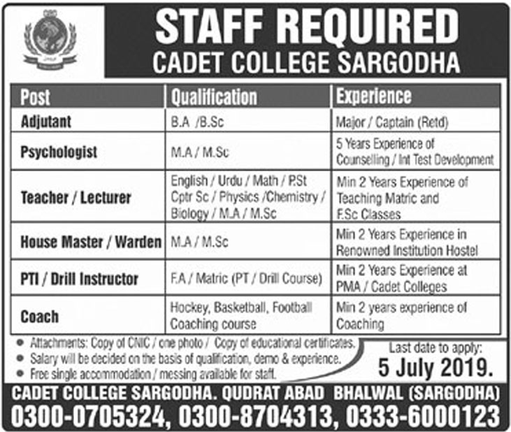 Get a Latest Jobs In Cadet College Sarghoda 2019