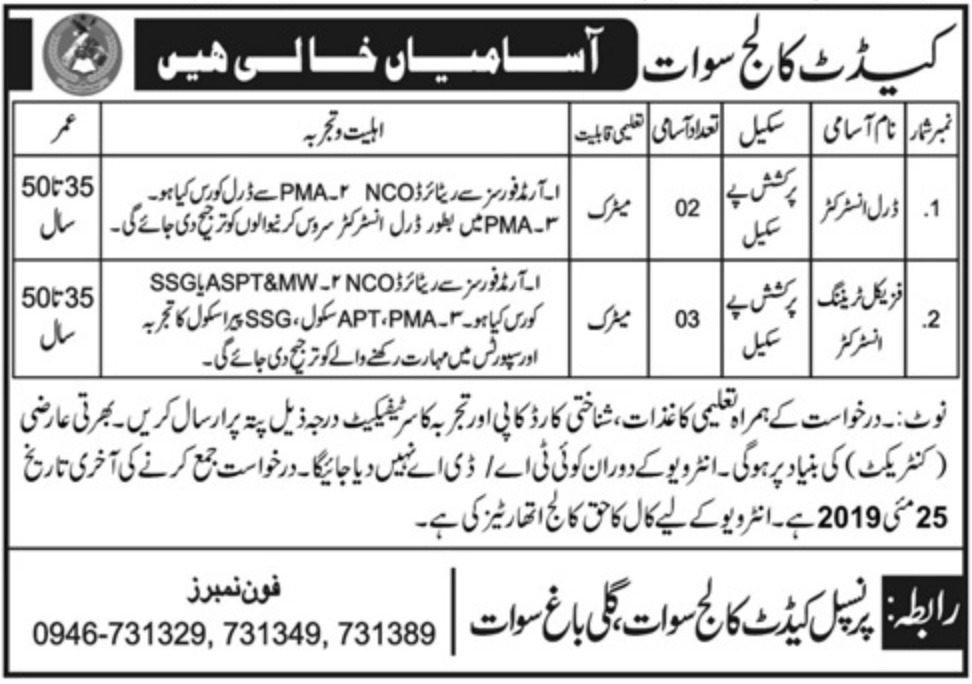 Get a Latest Jobs In Cadet College Swat 2019
