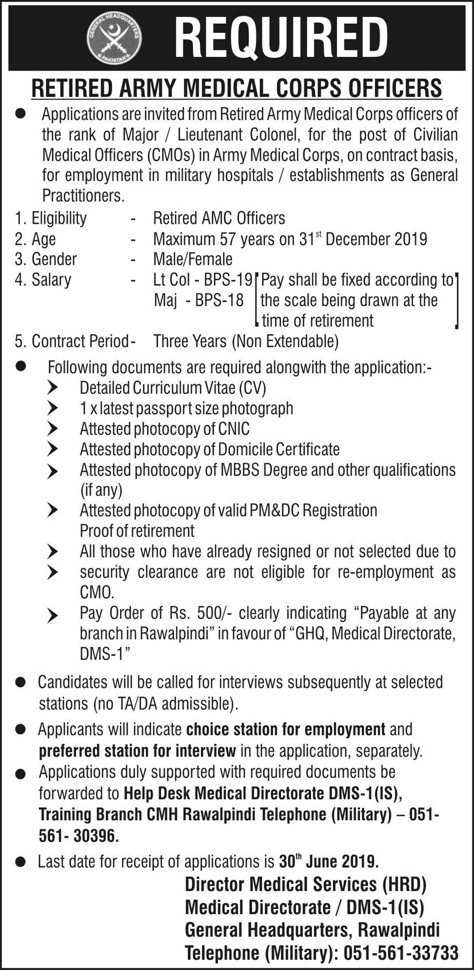 Get a Latest Jobs In CMH Rawalpindi 2019
