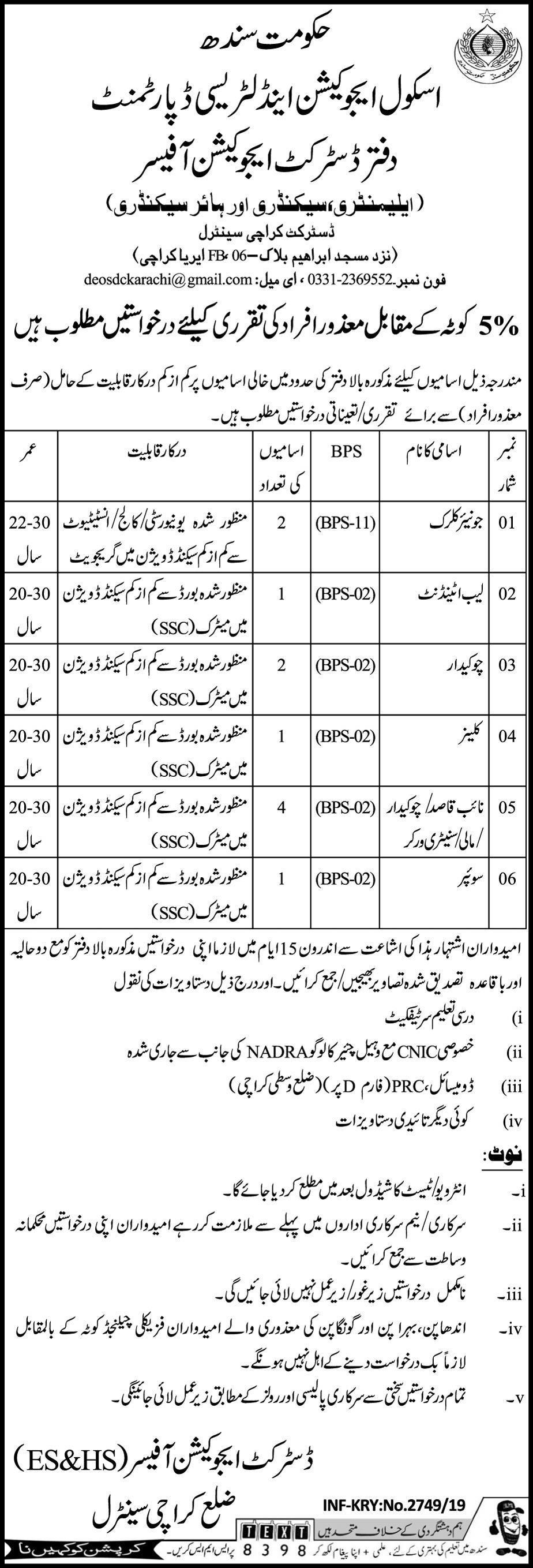 Get a Latest Jobs In Education Department Sindh 2019