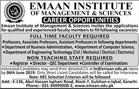 Get a Latest Jobs In Emaan Institute Of Management & Sciences 2019
