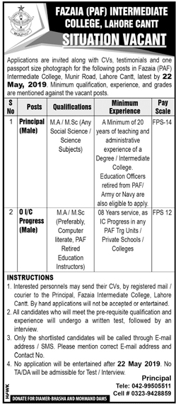 Get a Latest Jobs In Fazaia Inter College Lahore Cantt 2019