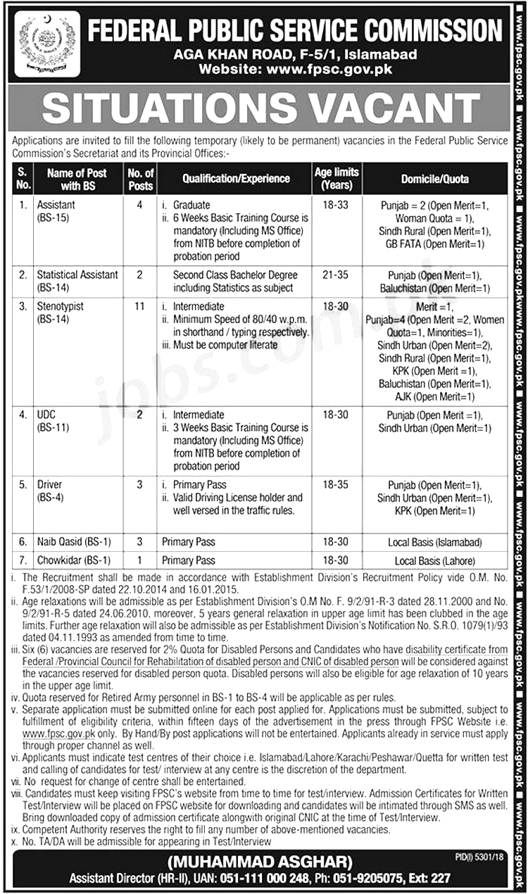 Get a Latest Jobs In Federal Public Service Commission 2019