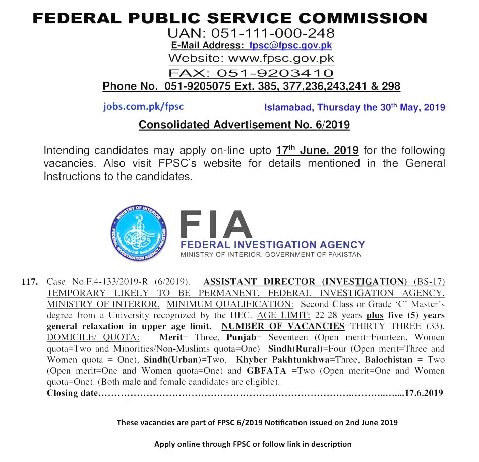 Get a Latest Jobs In FIA 2019