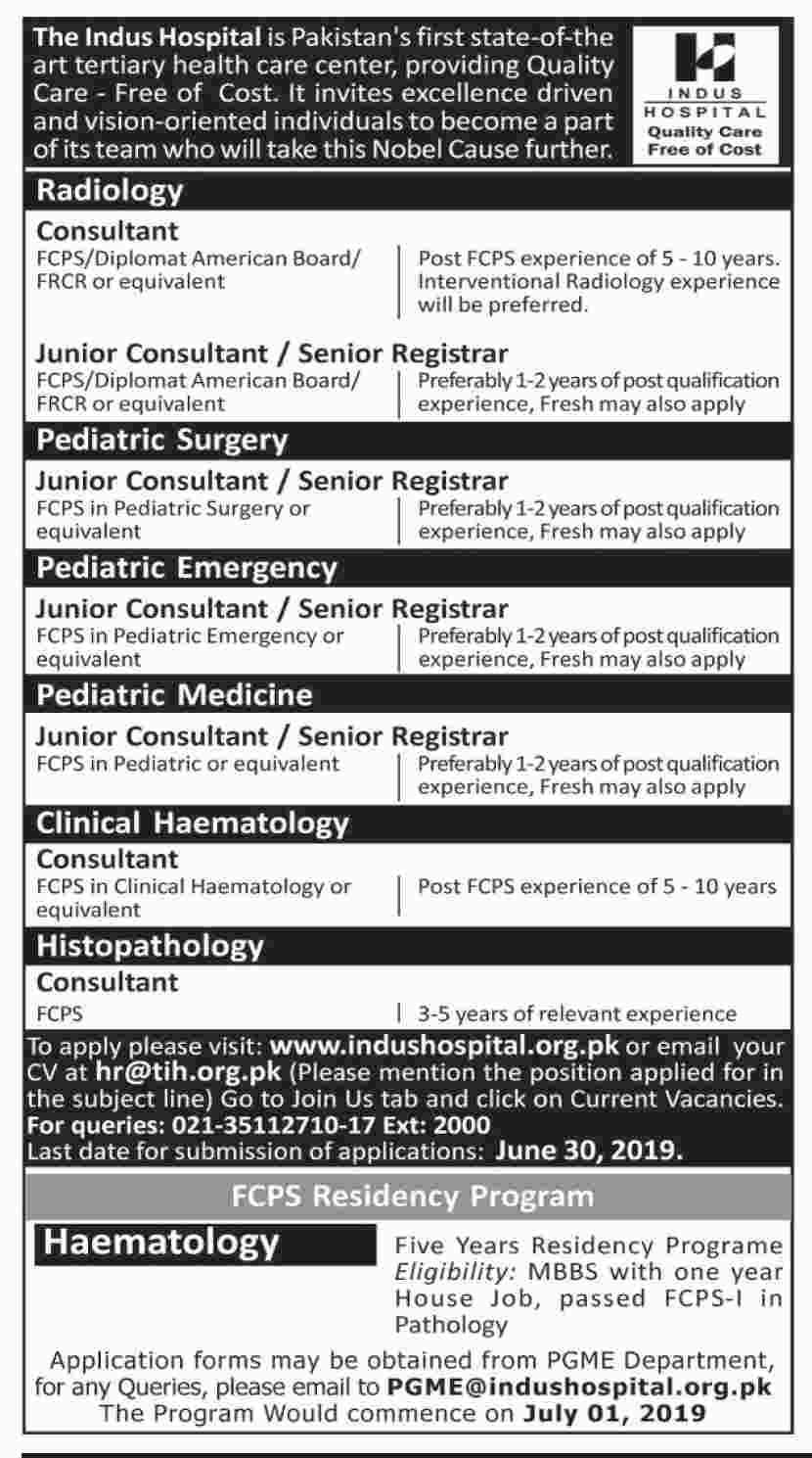 Get a Latest Jobs In Indus Hospital Lahore 2019