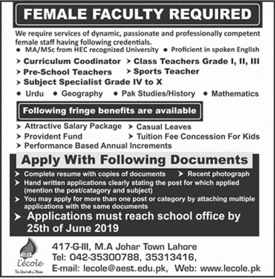 Get a Latest Jobs In L'ecole School Lahore 2019