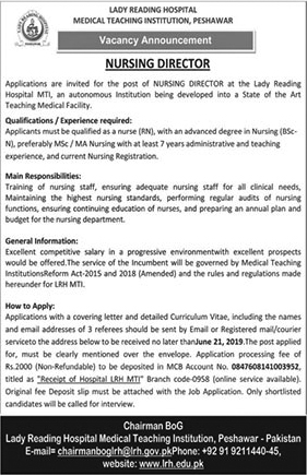 Get a Latest Jobs In Lady Reading Hospital 2019