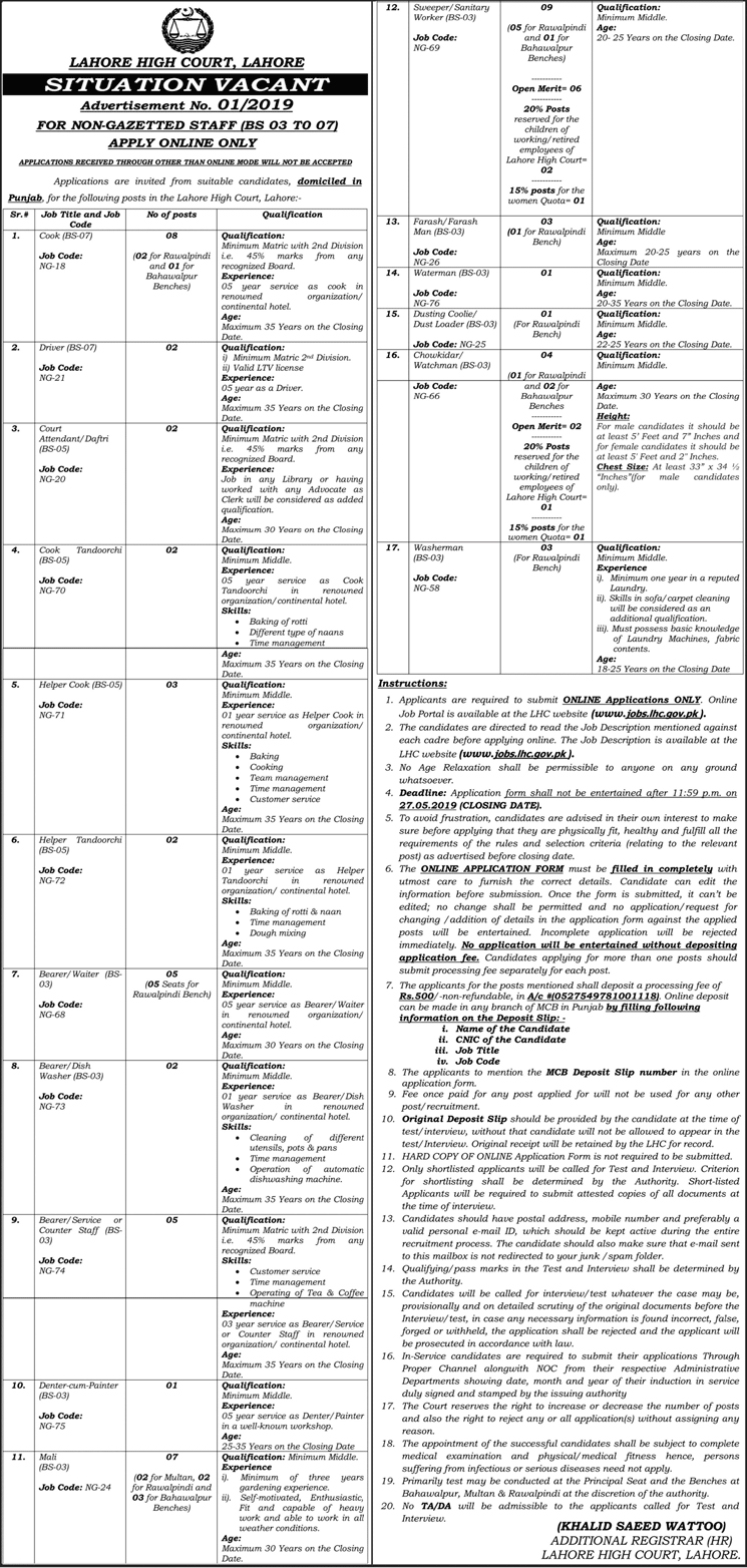 Get a Latest Jobs In Lahore High Court 2019