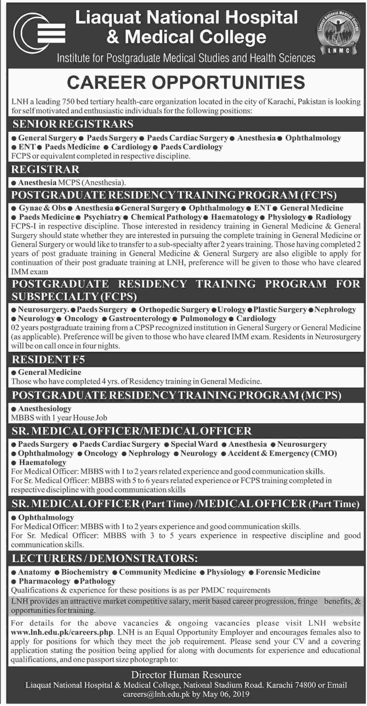 Get a Latest Jobs in Liaquat National Hospital 2019