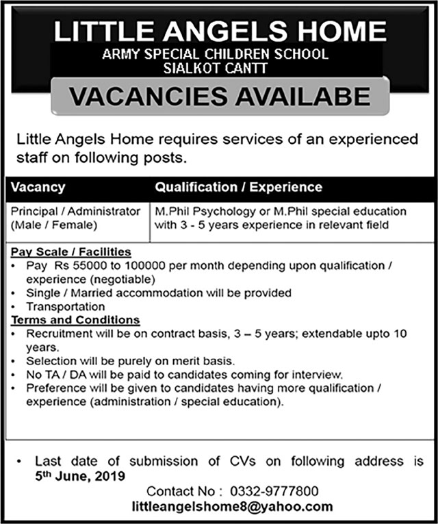 Get a Latest Jobs In Little Angels Home Sialkot 2019