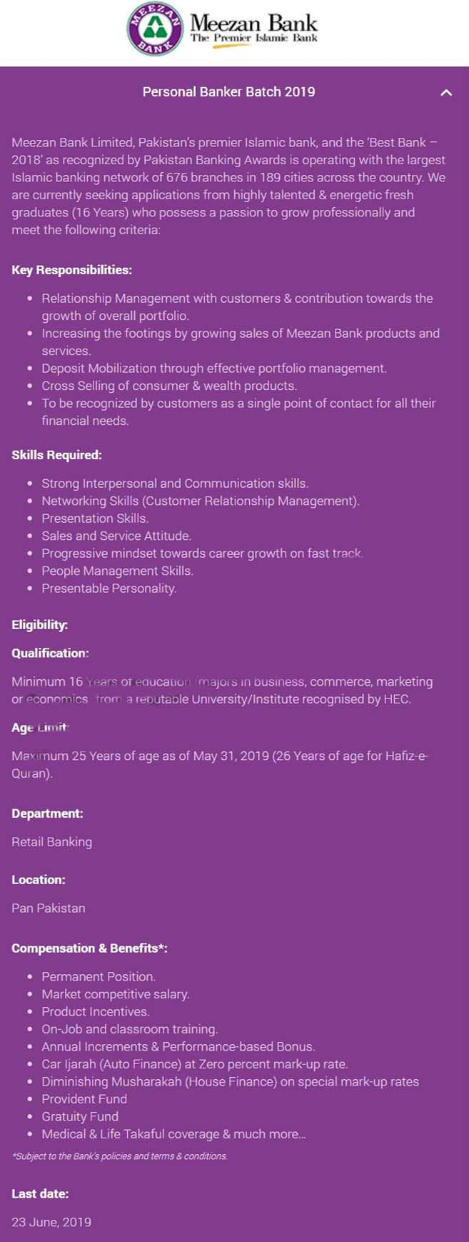 Get a Latest Jobs In Meezan Bank 2019
