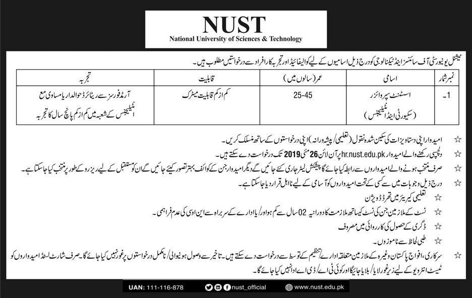Get a Latest Jobs In NUST University 2019