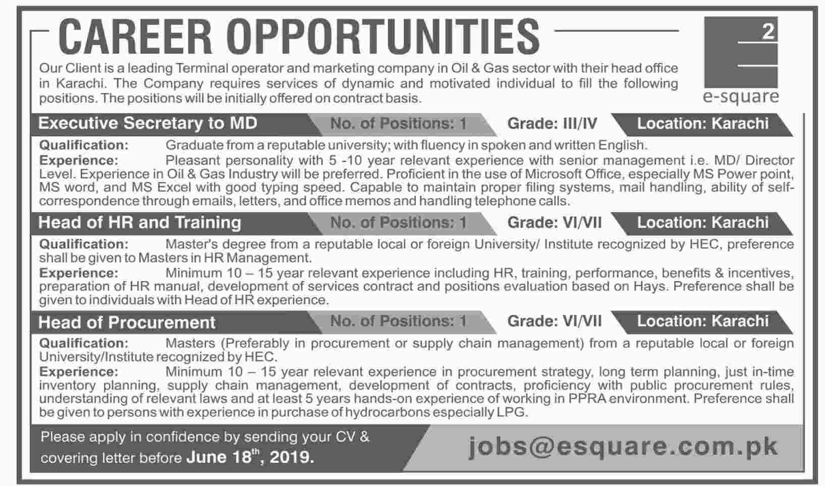 Get a Latest Jobs In Oil & Gas Company Karachi 2019