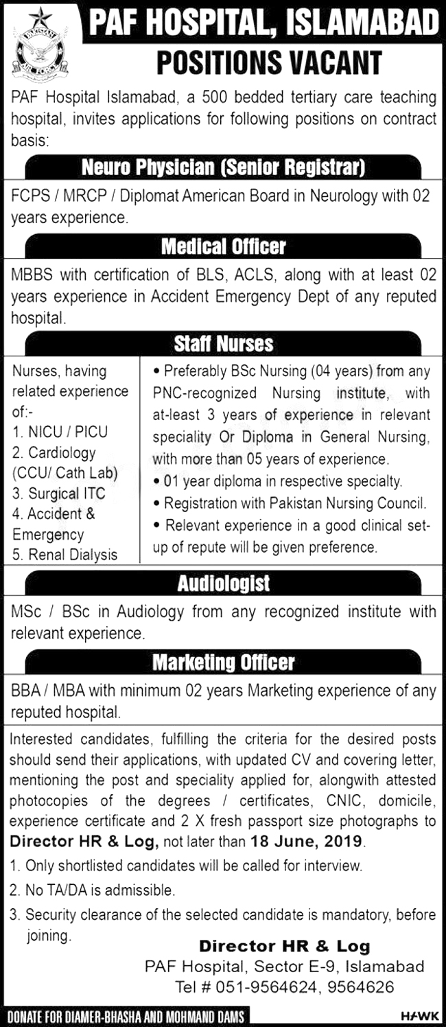 Get a Latest Jobs In PAF Hospital Islamabad 2019