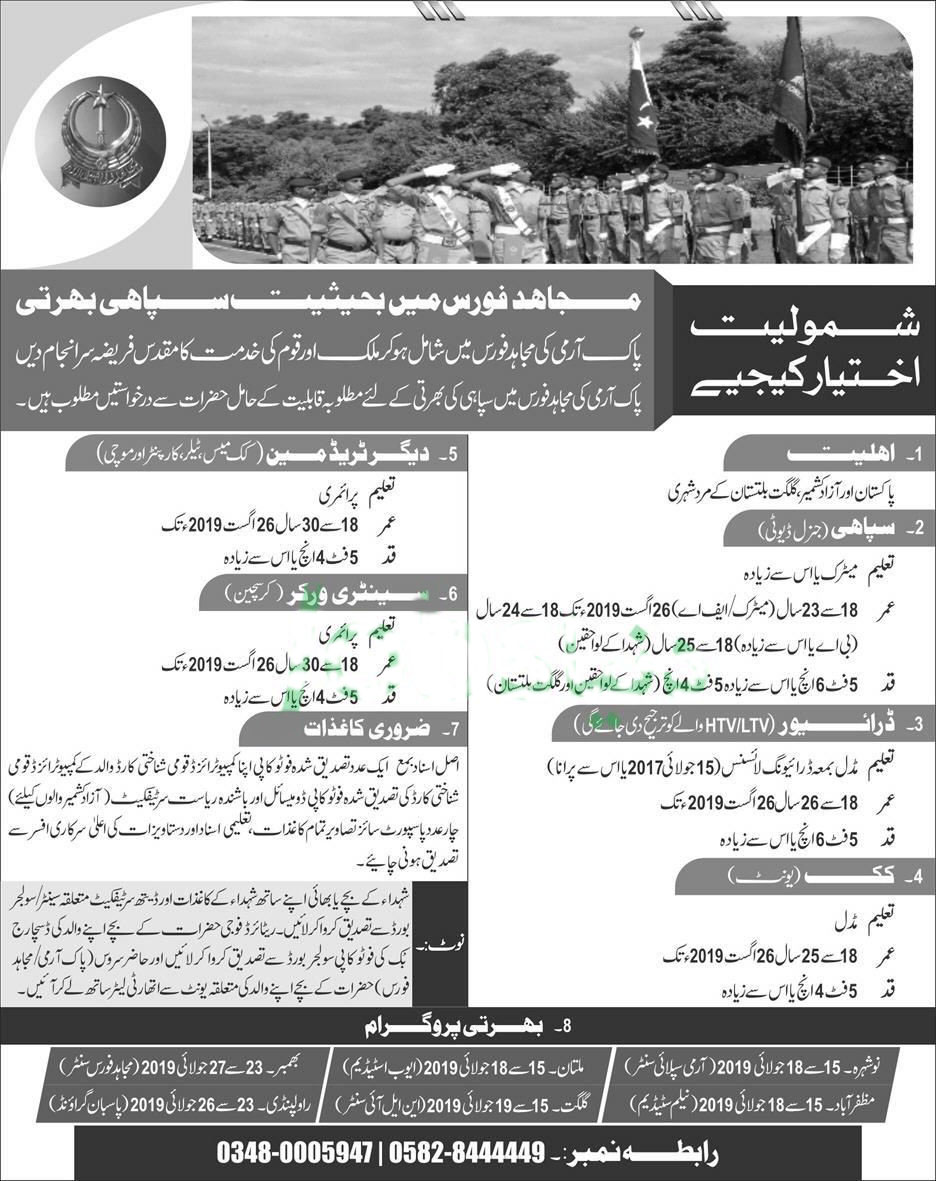 Get a Latest Jobs In Pakistan Army 2019