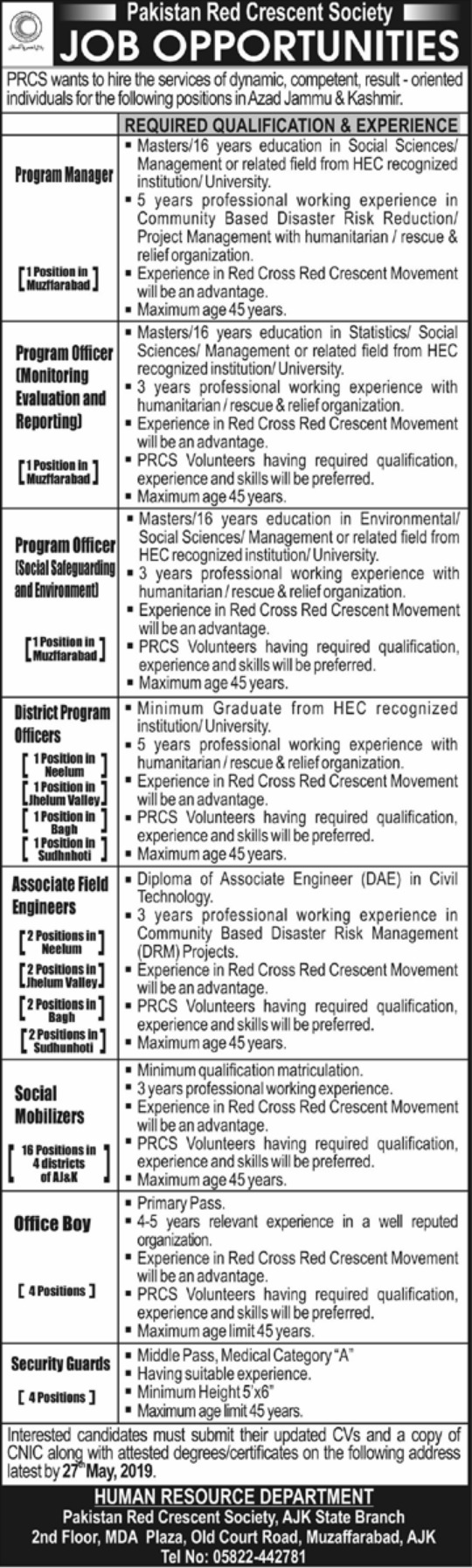 Get a Latest Jobs In Pakistan Red Crescent Society 2019