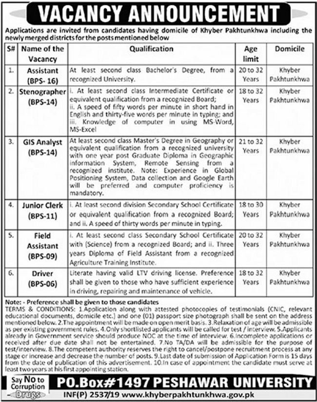 Get a Latest Jobs In Peshawar University 2019