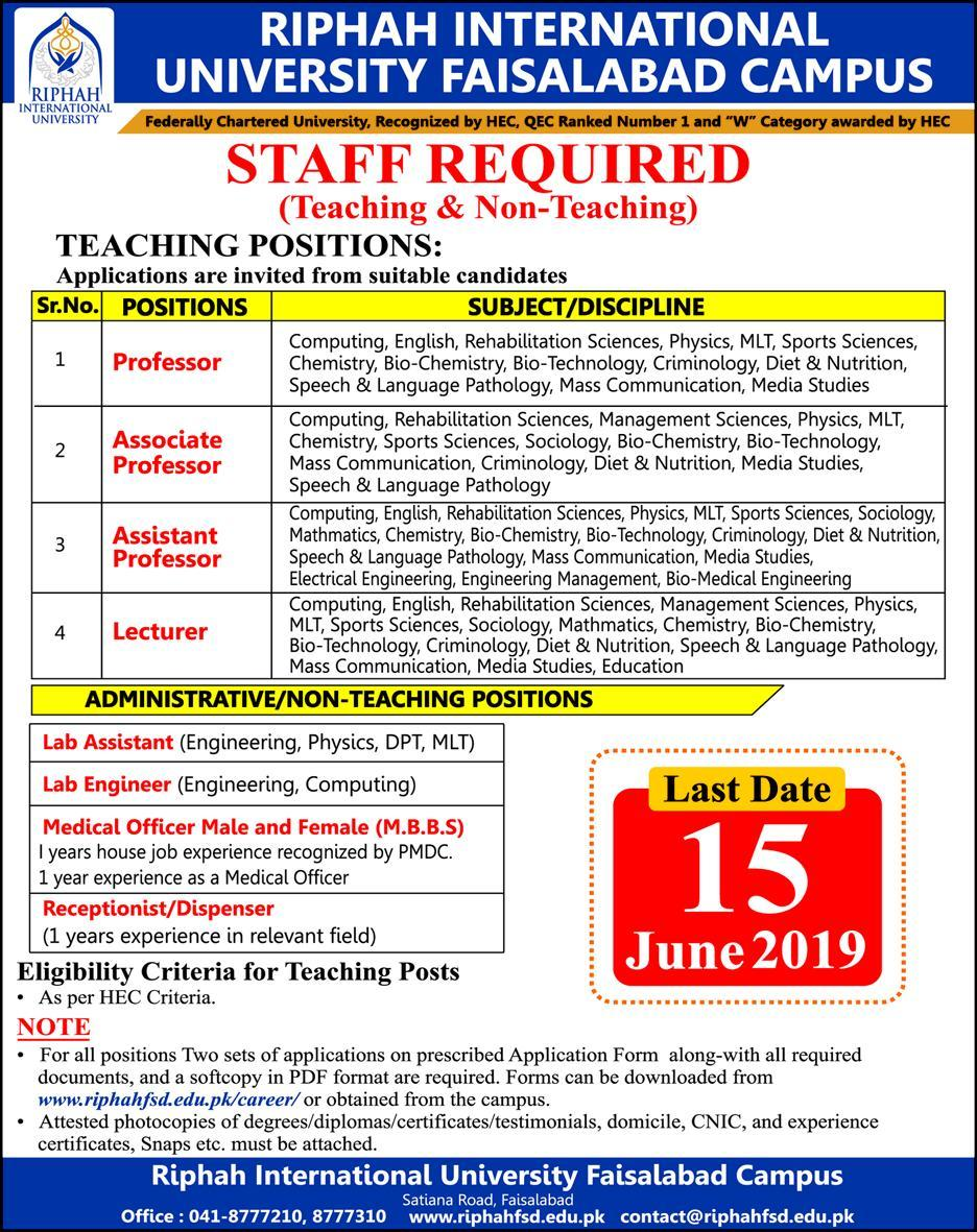 Get a Latest Jobs In Ripah International University 2019