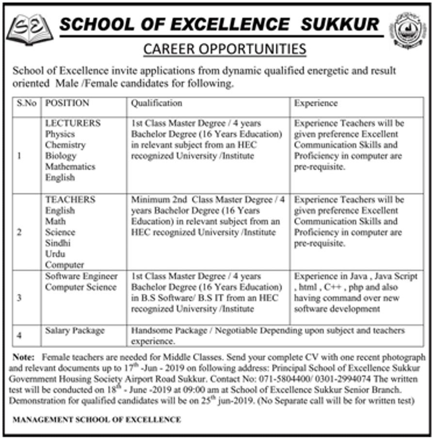 Get a Latest Jobs In School Of Excellence Sukkur 2019