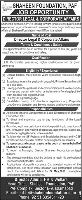 Get a Latest Jobs In Shaheen Foundation PAF 2019