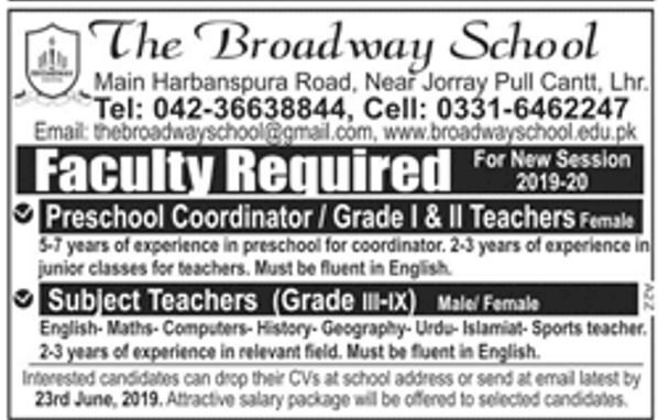 Get a Latest Jobs In The Broadway School Lahore 2019