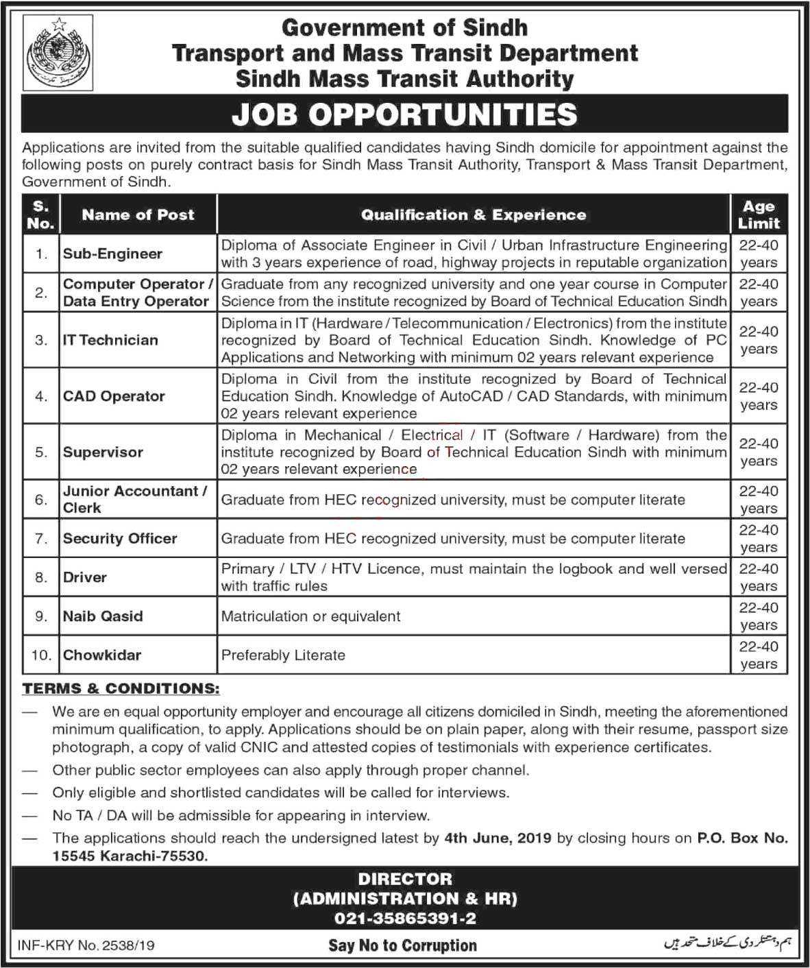 Get a Latest Jobs In Transport and Mass Transit Department Sindh 2019